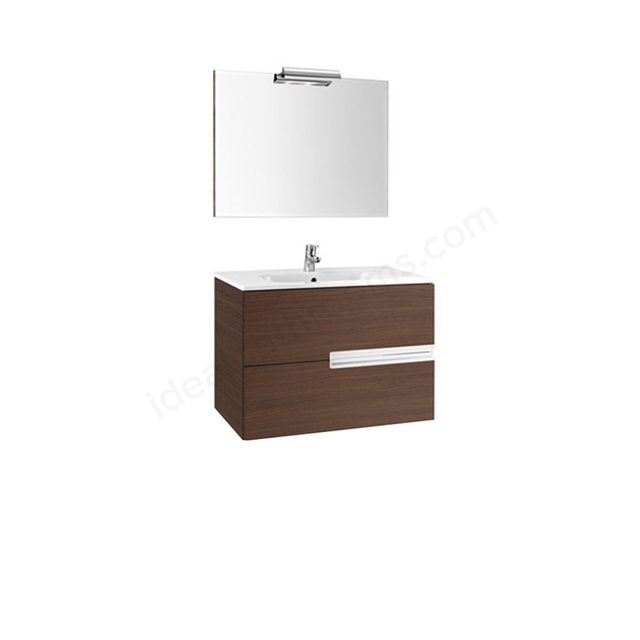 Roca VICTORIA-N Wall Hung Washbasin Unit + Basin + Mirror + Light; 2 Drawer; 1000mm Wide; Textured Wenge