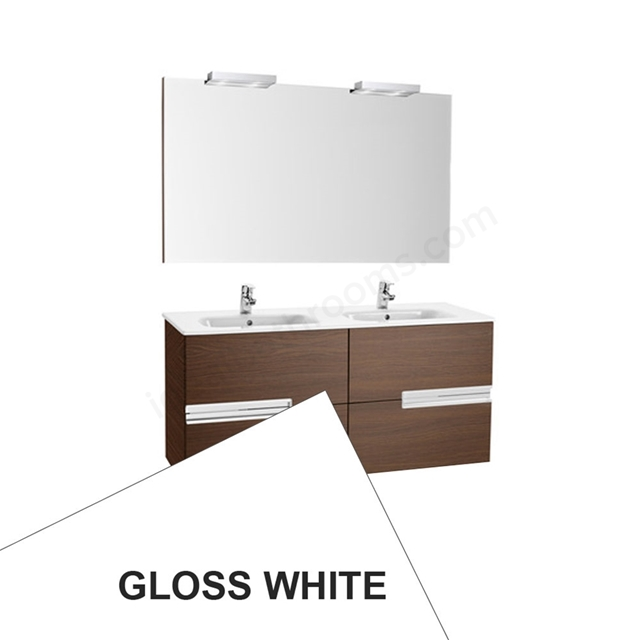 Roca VICTORIA-N Wall Hung Washbasin Unit + Basin + Mirror + Light; 2 Drawer; 1200mm Wide; Gloss White