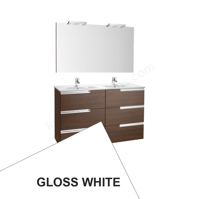 Roca VICTORIA-N Wall Hung Washbasin Unit + Basin + Mirror + Light; 3 Drawer; 1200mm Wide; Gloss White