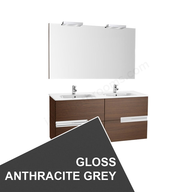 Roca VICTORIA-N Wall Hung Washbasin Unit + Basin + Mirror + Light; 2 Drawer; 1200mm Wide; Gloss Anthracite Grey