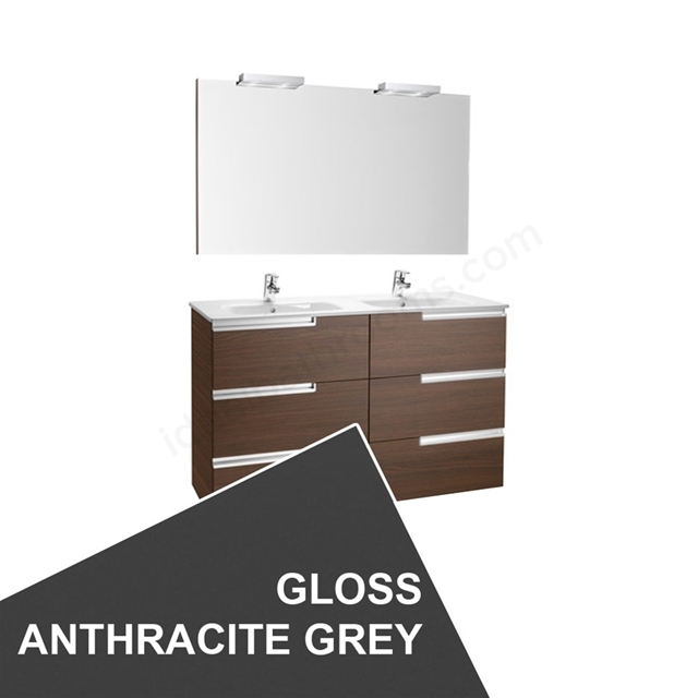 Roca VICTORIA-N Wall Hung Washbasin Unit + Basin + Mirror + Light; 3 Drawer; 1200mm Wide; Gloss Anthracite Grey