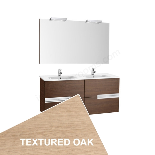 Roca VICTORIA-N Wall Hung Washbasin Unit + Basin + Mirror + Light; 2 Drawer; 1200mm Wide; Textured Oak