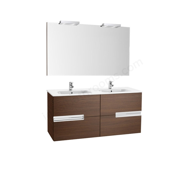 Roca VICTORIA-N Wall Hung Washbasin Unit + Basin + Mirror + Light; 2 Drawer; 1200mm Wide; Textured Wenge