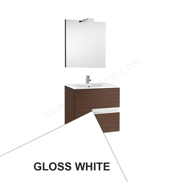 Roca VICTORIA-N Wall Hung Washbasin Unit + Basin + Mirror + Light; 2 Drawer; 600mm Wide; Gloss White