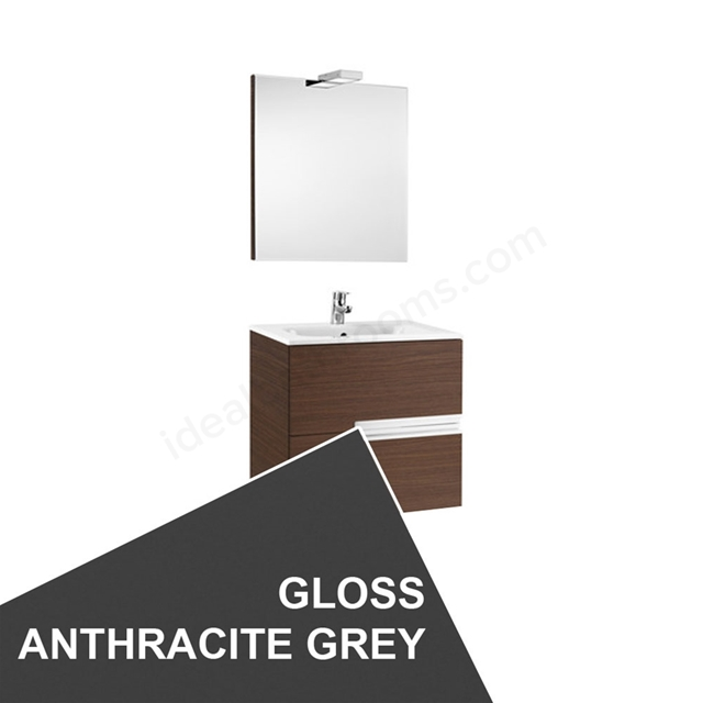 Roca VICTORIA-N Wall Hung Washbasin Unit + Basin + Mirror + Light; 2 Drawer; 600mm Wide; Gloss Anthracite Grey