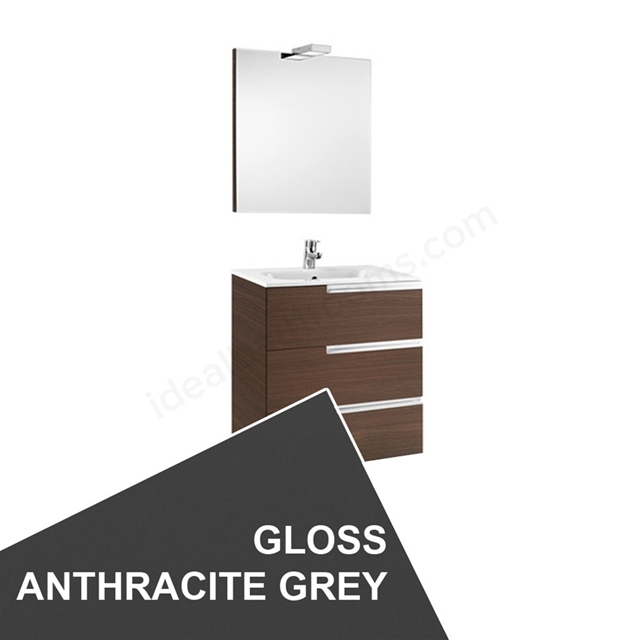 Roca VICTORIA-N Wall Hung Washbasin Unit + Basin + Mirror + Light; 3 Drawer; 600mm Wide; Gloss Anthracite Grey