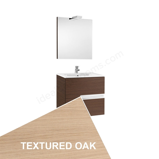 Roca VICTORIA-N Wall Hung Washbasin Unit + Basin + Mirror + Light; 2 Drawer; 600mm Wide; Textured Oak
