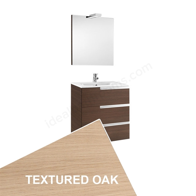 Roca VICTORIA-N Wall Hung Washbasin Unit + Basin + Mirror + Light; 3 Drawer; 600mm Wide; Textured Oak