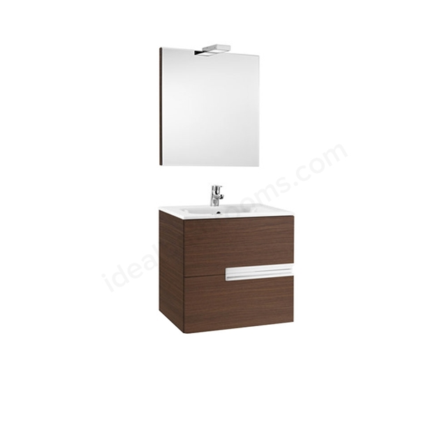 Roca VICTORIA-N Wall Hung Washbasin Unit + Basin + Mirror + Light; 2 Drawer; 600mm Wide; Textured Wenge