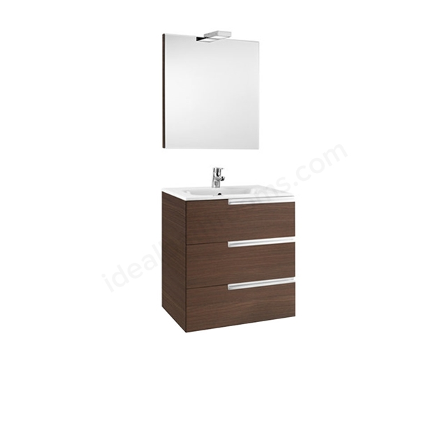 Roca VICTORIA-N Wall Hung Washbasin Unit + Basin + Mirror + Light; 3 Drawer; 600mm Wide; Textured Wenge