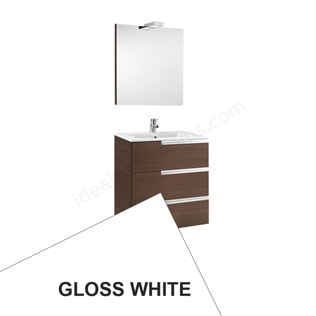 Roca VICTORIA-N Wall Hung Washbasin Unit + Basin + Mirror + Light; 3 Drawer; 700mm Wide; Gloss White
