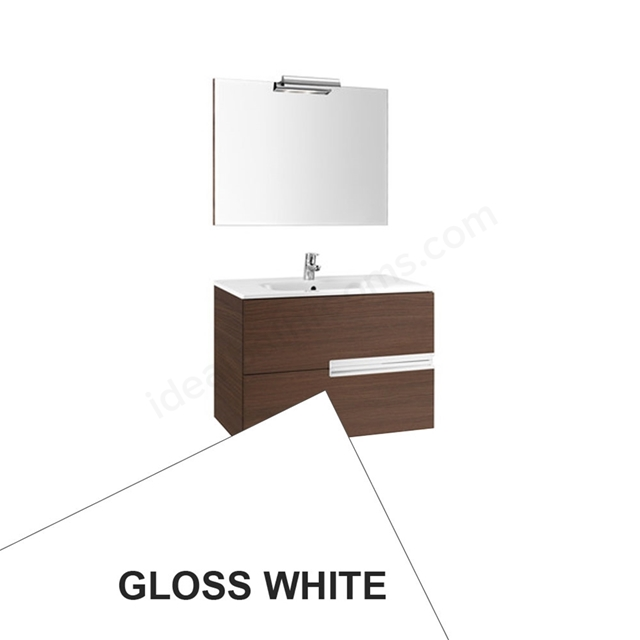 Roca VICTORIA-N Wall Hung Washbasin Unit + Basin + Mirror + Light, 2 Drawer, 800mm Wide, Gloss White