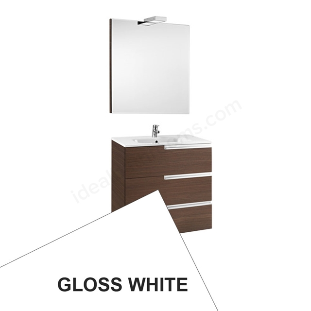 Roca VICTORIA-N Wall Hung Washbasin Unit + Basin + Mirror + Light; 3 Drawer; 800mm Wide; Gloss White