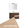 Roca VICTORIA-N Wall Hung Washbasin Unit + Basin + Mirror + Light, 2 Drawer, 800mm Wide, Textured Oak