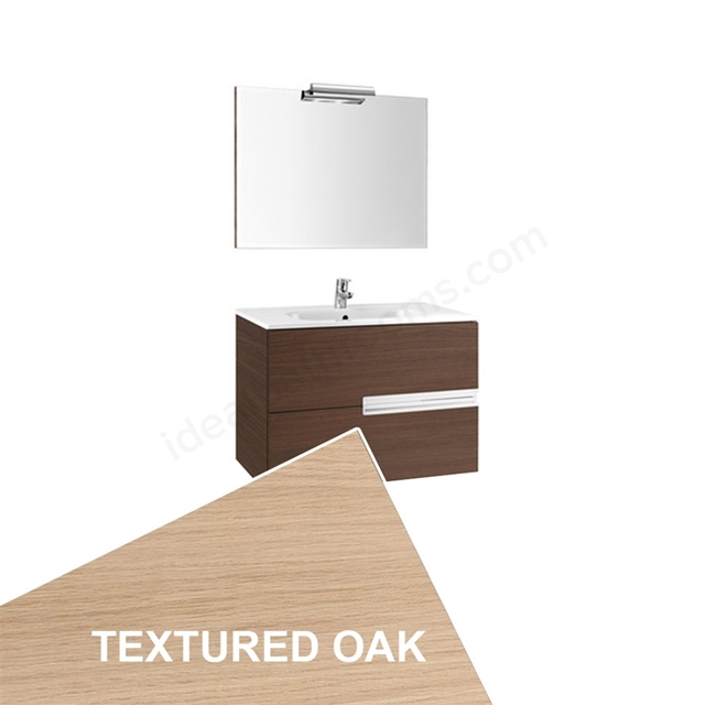 Roca VICTORIA-N Wall Hung Washbasin Unit + Basin + Mirror + Light; 2 Drawer; 800mm Wide; Textured Oak