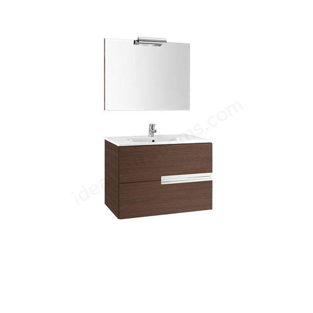 Roca VICTORIA-N Wall Hung Washbasin Unit + Basin + Mirror + Light; 2 Drawer; 800mm Wide; Textured Wenge
