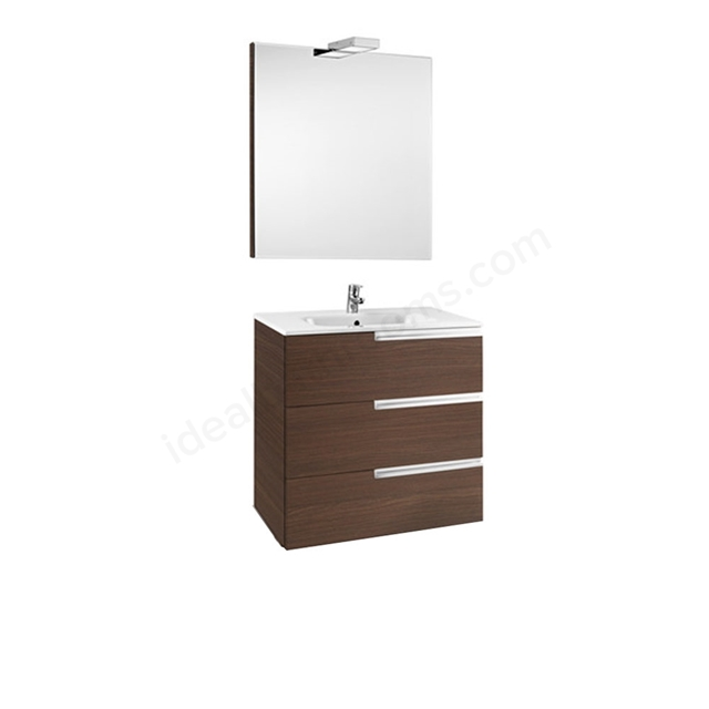 Roca VICTORIA-N Wall Hung Washbasin Unit + Basin + Mirror + Light; 3 Drawer; 800mm Wide; Textured Wenge