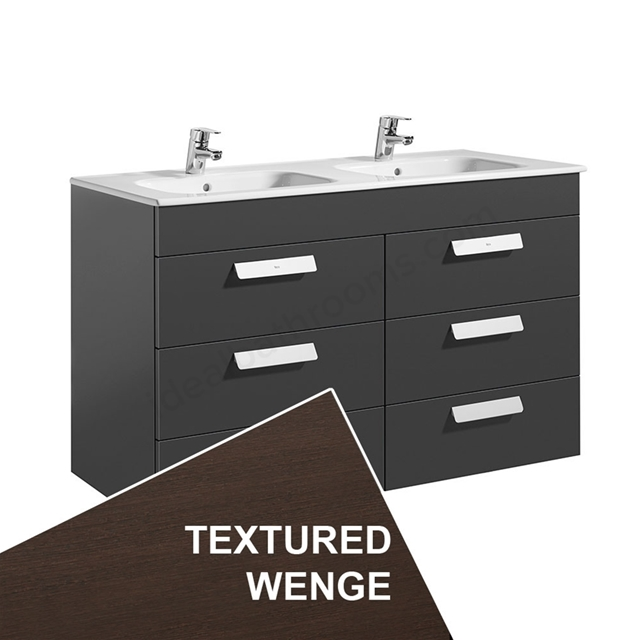 Roca DEBBA Standard Wall Hung Washbasin Unit Only; 3 Drawers; 1200mm Wide; Wenge