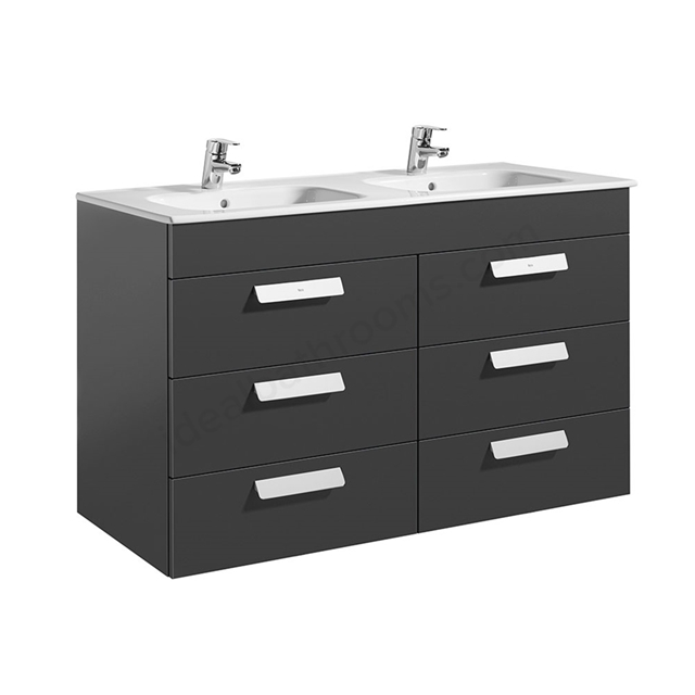 Roca DEBBA Standard Wall Hung Washbasin Unit Only; 3 Drawers; 1200mm Wide; Anthracite Grey