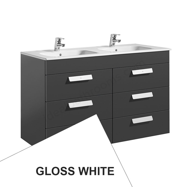 Roca DEBBA Standard Wall Hung Washbasin Unit Only; 3 Drawers; 1200mm Wide; White