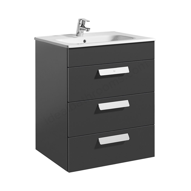 Roca DEBBA Standard Wall Hung Washbasin Unit Only; 3 Drawers; 600mm Wide; Anthracite Grey
