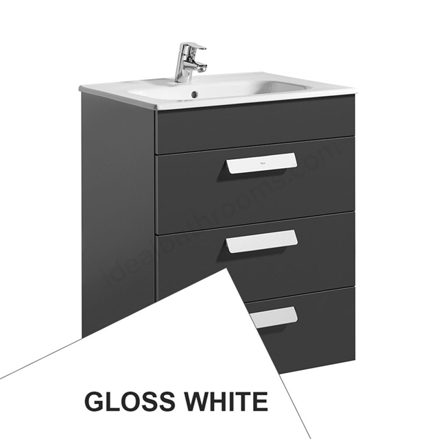 Roca DEBBA Standard Wall Hung Washbasin Unit Only; 3 Drawers; 600mm Wide; White