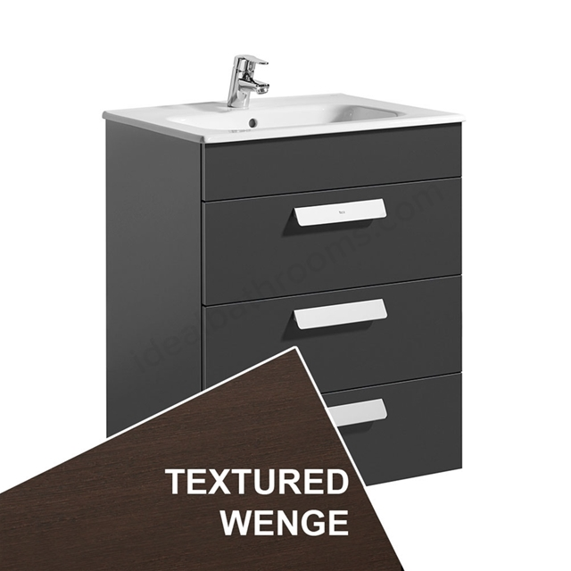 Roca DEBBA Standard Wall Hung Washbasin Unit Only; 3 Drawers; 600mm Wide; Wenge