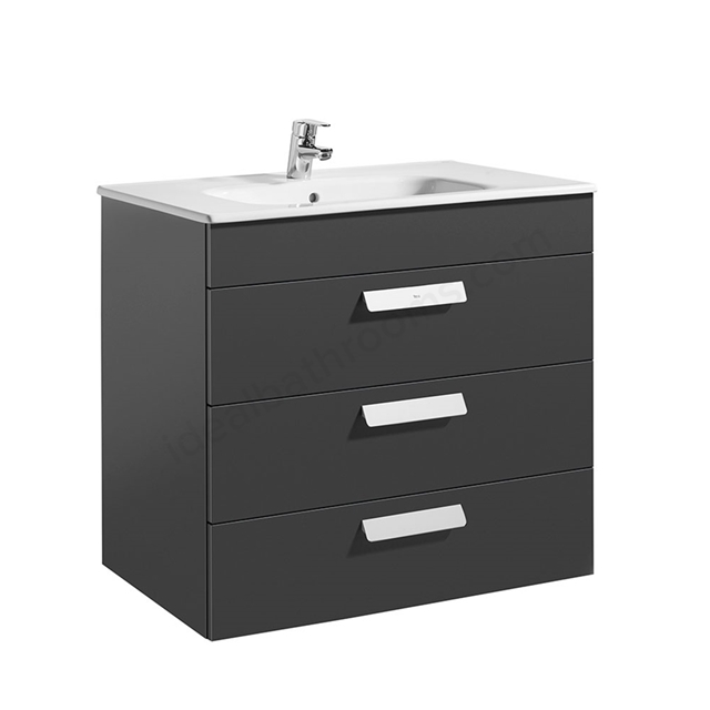 Roca DEBBA Standard Wall Hung Washbasin Unit Only; 3 Drawers; 800mm Wide; Anthracite Grey