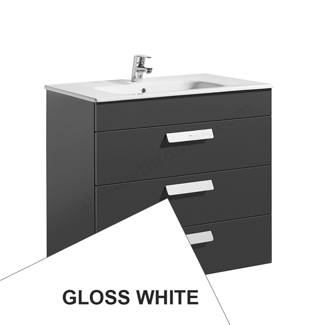 Roca DEBBA Standard Wall Hung Washbasin Unit Only; 3 Drawers; 800mm Wide; White