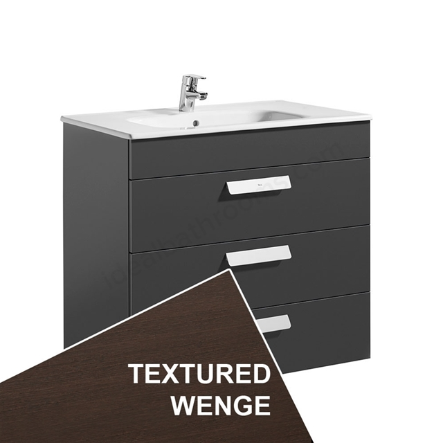 Roca DEBBA Standard Wall Hung Washbasin Unit Only; 3 Drawers; 800mm Wide; Wenge