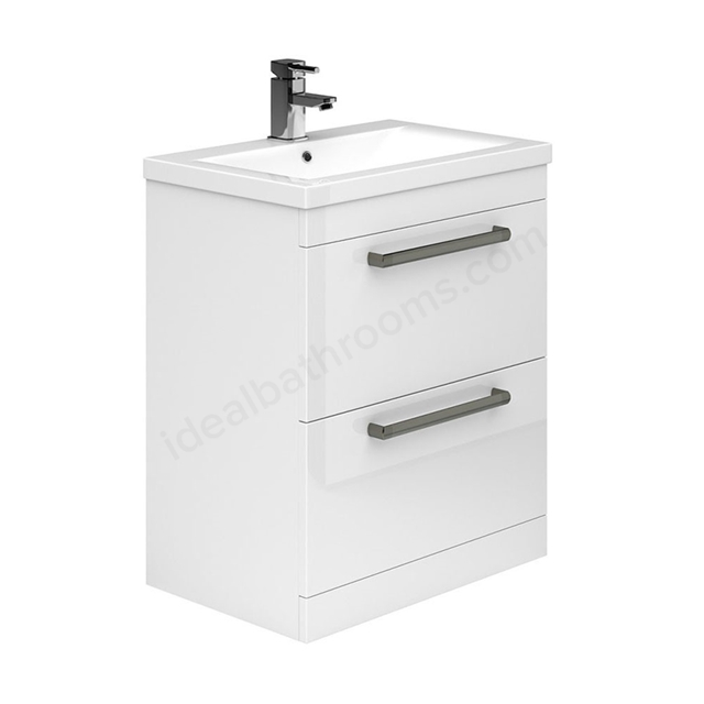 Essential NEVADA Floor Standing Washbasin Unit + Basin; 2 Drawers; 800mm Wide; White