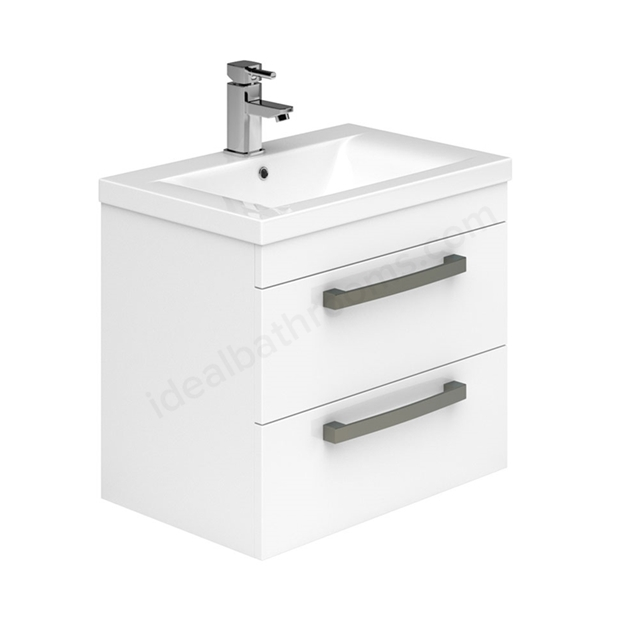 Essential NEVADA Wall Hung Washbasin Unit + Basin; 2 Drawers; 600mm Wide; White