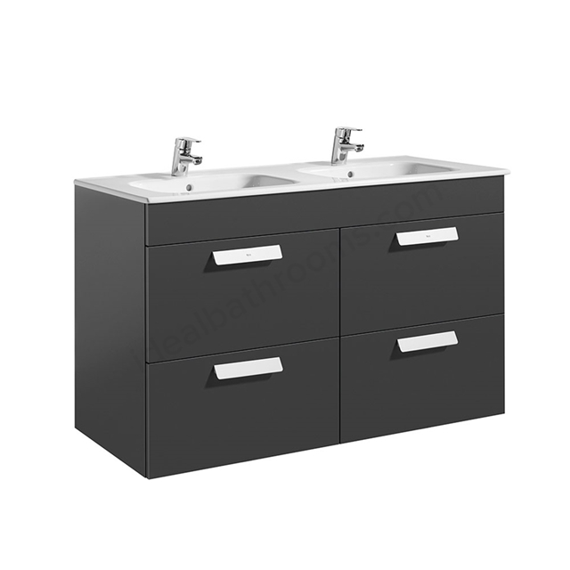 Roca DEBBA Standard Wall Hung Washbasin Unit Only; 2 Drawers; 1200mm Wide; Anthracite Grey