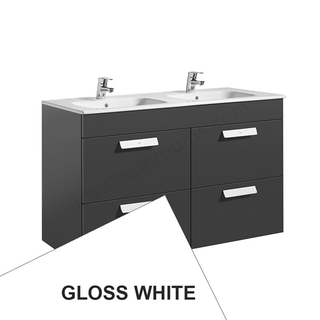 Roca DEBBA Standard Wall Hung Washbasin Unit Only; 2 Drawers; 1200mm Wide; White