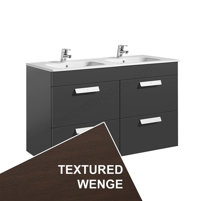 Roca DEBBA Standard Wall Hung Washbasin Unit Only; 2 Drawers; 1200mm Wide; Wenge