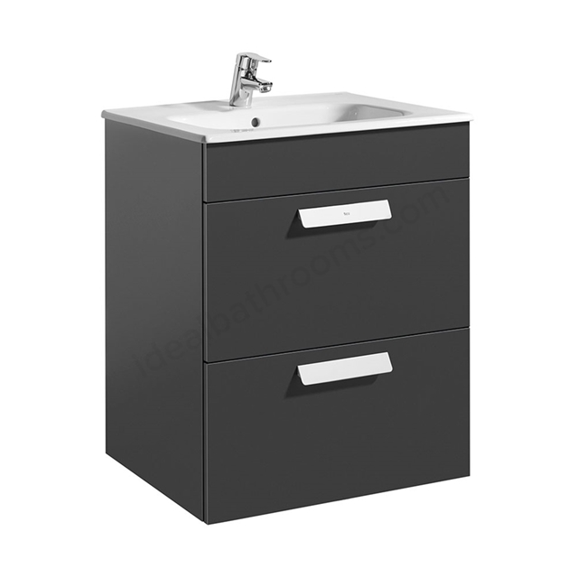 Roca DEBBA Standard Wall Hung Washbasin Unit Only; 2 Drawers; 600mm Wide; Anthracite Grey