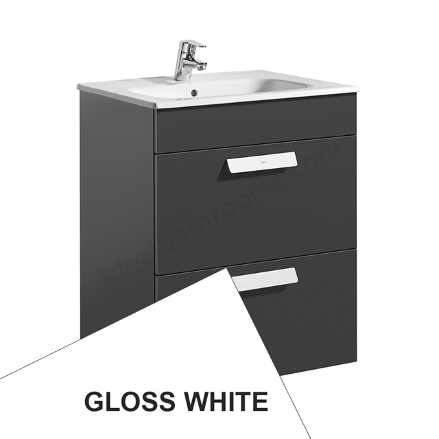 Roca DEBBA Standard Wall Hung Washbasin Unit Only; 2 Drawers; 600mm Wide; White