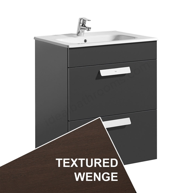 Roca DEBBA Standard Wall Hung Washbasin Unit Only; 2 Drawers; 600mm Wide; Wenge