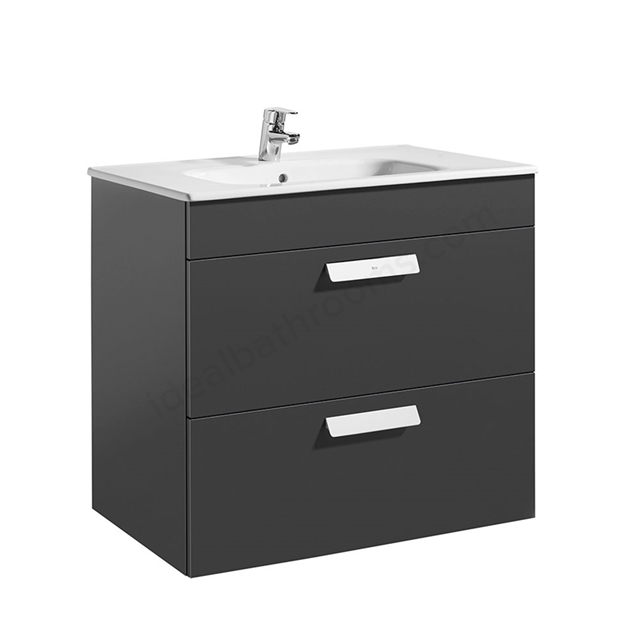 Roca DEBBA Standard Wall Hung Washbasin Unit Only; 2 Drawers; 800mm Wide; Anthracite Grey
