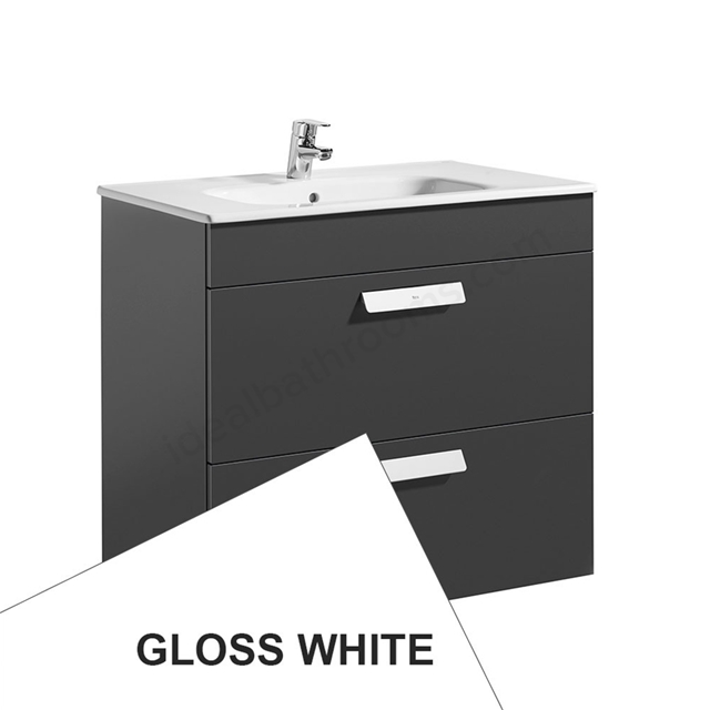 Roca DEBBA Standard Wall Hung Washbasin Unit Only; 2 Drawers; 800mm Wide; White