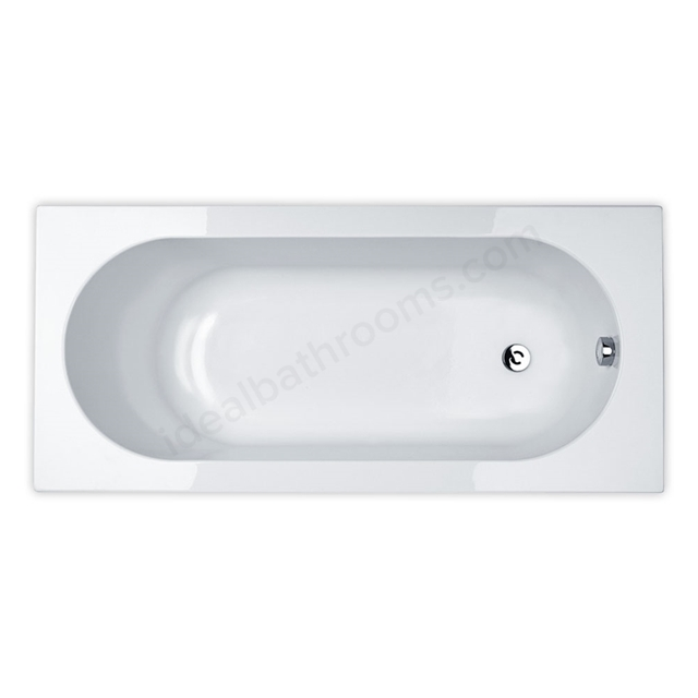 Essential KINGSTON Rectangular Single Ended Bath, 1700x750mm, 0 Tap holes, White