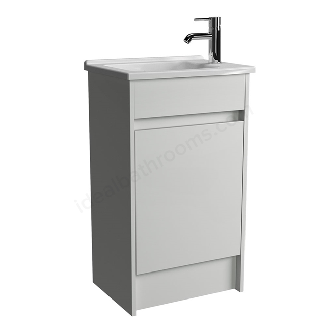 Vitra S50 Compact Floorstanding Washbasin Unit + Basin, 1 Door, 500mm Wide, White Gloss