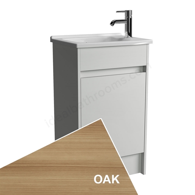 Vitra S50 Compact Floorstanding Washbasin Unit + Basin; 1 Door; 500mm Wide; Oak