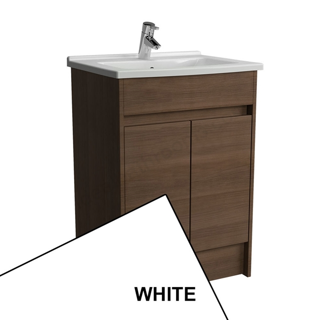 Vitra S50 Floorstanding Washbasin Unit + Basin, 2 Door, 600mm Wide, White Gloss