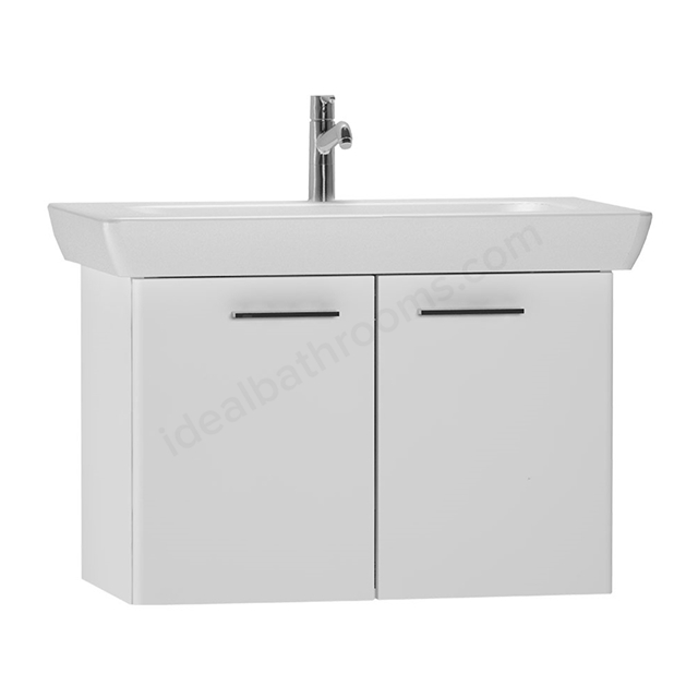 Vitra S20 Wall Hung Washbasin Unit + Basin, 2 Door, 850mm Wide, Gloss White