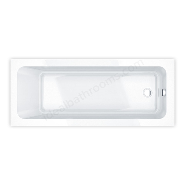 Essential BROMLEY Rectangular Single Ended Bath, 1700x750mm, 0 Tap holes, White
