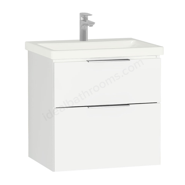 Vitra ECORA Wall Hung Washbasin Unit + Basin, 2 Drawer, 600mm Wide, White