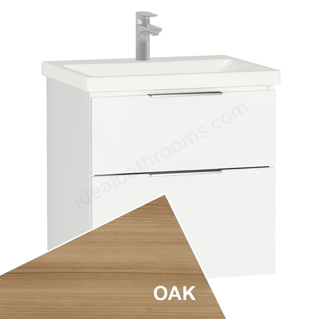 Vitra ECORA Wall Hung Washbasin Unit + Basin, 2 Drawer, 600mm Wide, Oak