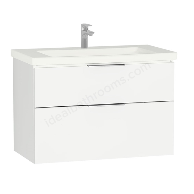 Vitra ECORA Wall Hung Washbasin Unit + Basin, 2 Drawer, 900mm Wide, White