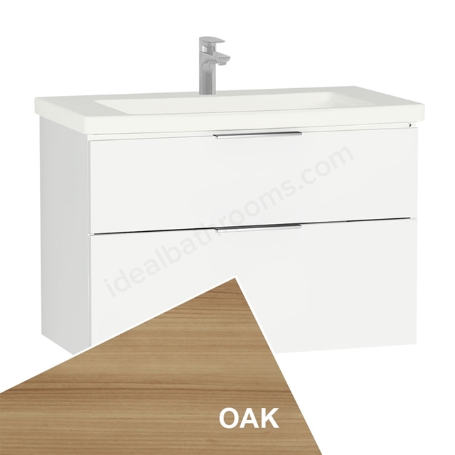 Vitra ECORA Wall Hung Washbasin Unit + Basin, 2 Drawer, 900mm Wide, Oak